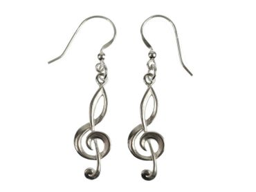 Treble Clef Earrings Clef Music Miniblings Piano 925 Silver – Bild 1