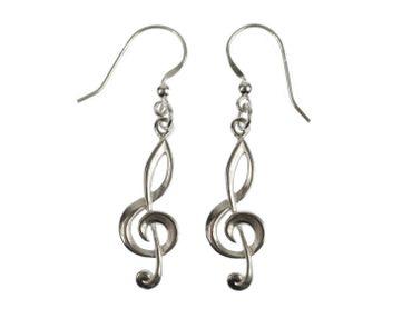 Violinschlüssel Ohrringe Notenschlüssel Musik Miniblings Klavier 925 Silber Echtsilber – Bild 1