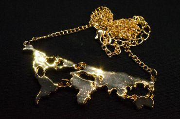 Welt Kette Halskette Miniblings 45cm Weltkarte Globus Globetrotter Reisen golden – Bild 2