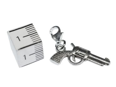 Gun Charm For Bracelet Wristlet Dangle Miniblings Western Colts Revolver Silver – Bild 1