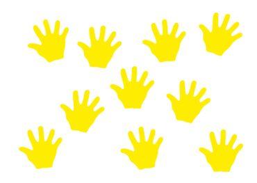 10x Bügelbild Bügelbilder Aufnäher Patch Miniblings 26mm FLOCK Hand Mensch Hände – Bild 3