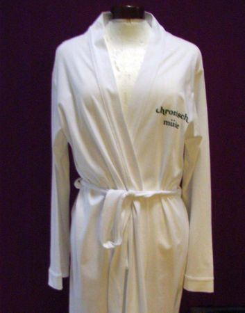 Bathrobe Print Robe Coat Sauna Sauna Chronic Tired White Size S Chronisch Müde German Germany – Bild 4