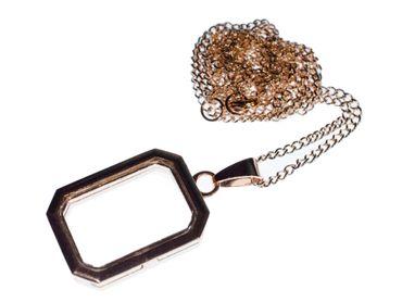 Medaillon Kette Halskette Miniblings roségold rose zum Füllen DIY Rechteck – Bild 1