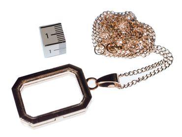 Medaillon Kette Halskette Miniblings roségold rose zum Füllen DIY Rechteck – Bild 4