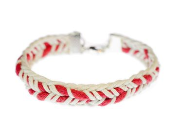 braided cord Bracelet Wristlet Dangle Miniblings Belt Red Ethno Silver – Bild 2