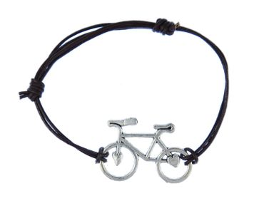 Bicycle Wheel Bracelet Wristlet Dangle Miniblings Adjustable Leather Brown Road Bike Heart – Bild 1