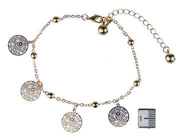 Bell Anklet Bracelet Dangle Miniblings Flower Golden round pattern Rose – Bild 3