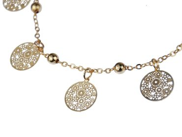 Bell Anklet Bracelet Dangle Miniblings Flower Golden round pattern Rose – Bild 4