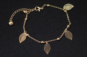 Bell Leaf Anklet Bracelet Dangle Miniblings Leaves Noble Golden pattern Rose – Bild 3
