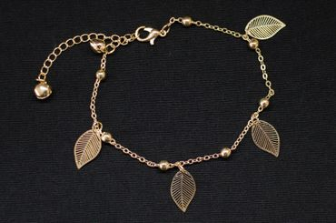 Bell Leaf Anklet Bracelet Dangle Miniblings Leaves Noble Golden pattern Rose – Bild 2
