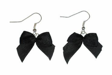 Loop Earrings Miniblings Bow Black Fabric Vintage Gothic Sweet – Bild 1