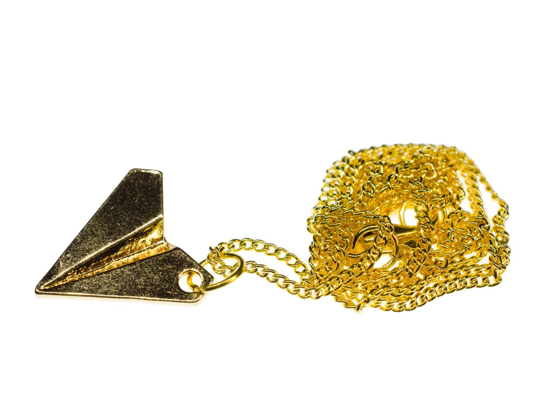 Papierflieger Kette Halskette Miniblings 60cm Faltkunst Origami Flieger golden