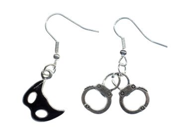 Mix Mask Handcuffs Earrings Miniblings Bondage Game Carnival – Bild 1