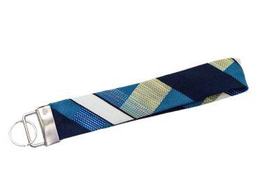 Krawatte Schlüsselanhänger Miniblings Upcycling blau strukturiert Unikat Retro – Bild 1