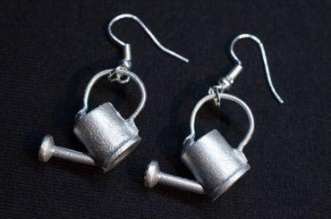 Watering can Cans Earrings Miniblings Spring Gardening Gardener Garden Flowers Metal – Bild 2