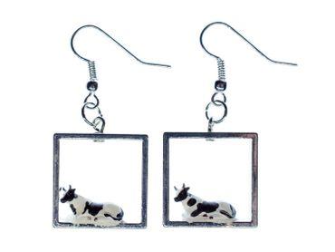 Cow Diorama Earrings Miniblings Pendant Cows Dairy Farm Milk Animal Cages – Bild 1