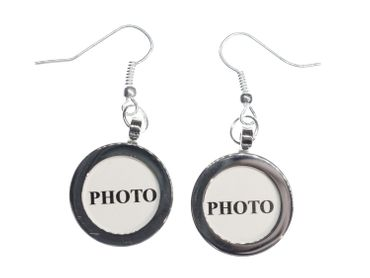 Photo Earrings Miniblings Pendant Your Own Photo DIY Personalized Silver plated – Bild 4