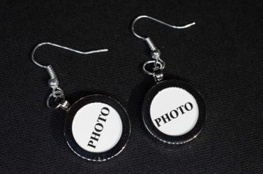 Photo Earrings Miniblings Pendant Your Own Photo DIY Personalized Silver plated – Bild 1