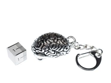 Brain Key Chain Key Ring Miniblings Necklace Organ Medicine docotor hospital horror human Silver plated – Bild 2