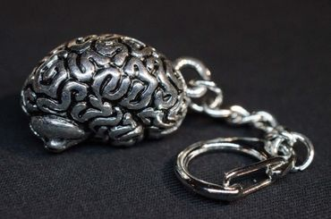 Brain Key Chain Key Ring Miniblings Necklace Organ Medicine docotor hospital horror human Silver plated – Bild 3