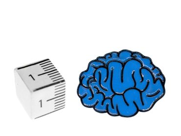 Brain Brooch Pin Blue Brain Anatomy Thinking Man Head Iq Comic Brain doctor human horror – Bild 2
