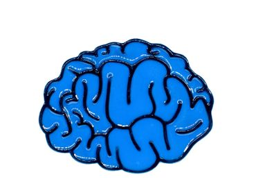 Brain Brooch Pin Blue Brain Anatomy Thinking Man Head Iq Comic Brain doctor human horror – Bild 1