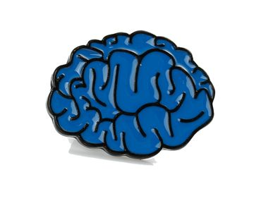Brain Brooch Pin Blue Brain Anatomy Thinking Man Head Iq Comic Brain doctor human horror – Bild 5