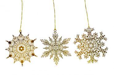 3 Stück Eiskristall Weihnachtsbaumanhänger Xmas Schneeflocke X-Mas gold filigran – Bild 3