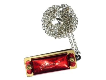 Playable Harmonica Link Necklace Miniblings 50cm Musician Red – Bild 3
