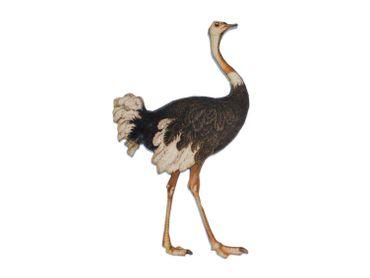 Ostrich Printed Wood Laser Cut Brooch Pin Miniblings Wooden Animal Australia Bird – Bild 1