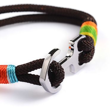 Anchor Bracelet Wristlet Dangle Miniblings Pendant Rope Climbing Rope Brown Jamaica Reggae – Bild 1