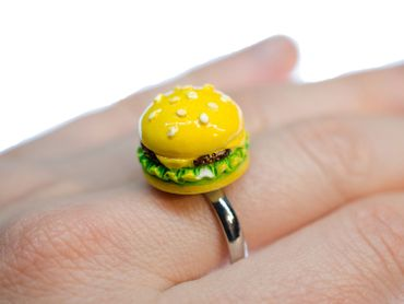 Hamburger Ring Miniblings Fingerring Fast Food Essen Burger USA Restaurant 3D – Bild 3