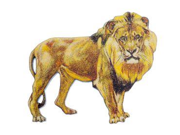 Leo Lion Lion Printed Wood Laser Cut Brooch Miniblings Pin Wood Animal Safari Afrika König – Bild 4