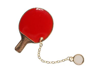 Table Tennis Racket Enamelled Brooch Miniblings Metal Ball Games Table Tennis – Bild 5