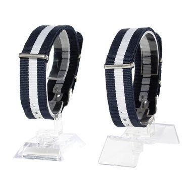 Watchband Wristwatch For Men Women Watch Bracelet Wristlet Miniblings Textile Dark Blue White 20mm – Bild 3