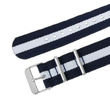 Watchband Wristwatch For Men Women Watch Bracelet Wristlet Miniblings Textile Dark Blue White 20mm – Bild 1