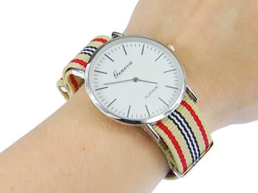 for Men Women Watch Women Men Miniblings Textile Beige Red Silver – Bild 3