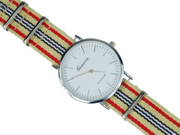 for Men Women Watch Women Men Miniblings Textile Beige Red Silver – Bild 6