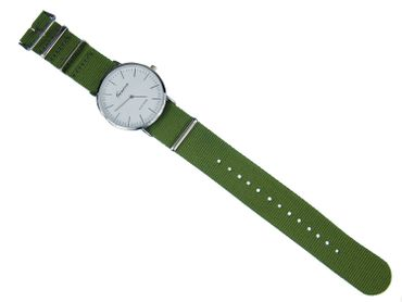 for Men Women Watch Women Men Miniblings Textile Olive Green Silver – Bild 4