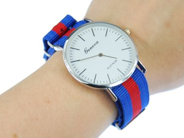for Men Women Watch Women Men Miniblings Textile Red Blue Silver – Bild 3