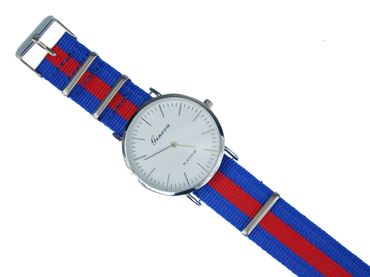 for Men Women Watch Women Men Miniblings Textile Red Blue Silver – Bild 1