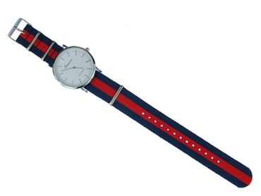 for Men Women Watch Women Men Miniblings Textile Red Dark Blue Silver – Bild 6