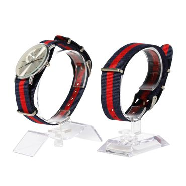 for Men Women Watch Women Men Miniblings Textile Red Dark Blue Silver – Bild 9