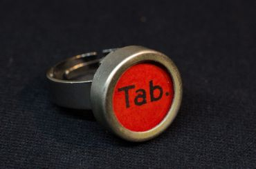 Tab Red Key Ring Vintage Typewriter Keys Miniblings Upcycling – Bild 4