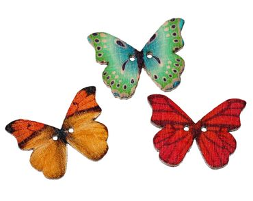 25X Buttons Butterfly Colorful Button Miniblings Wood Set DIY Flower Crafts Sewing – Bild 1