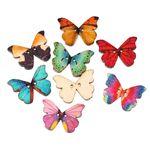 25x Knöpfe Schmetterling bunt Knopf Miniblings Holz Set DIY Blume Basteln Nähen