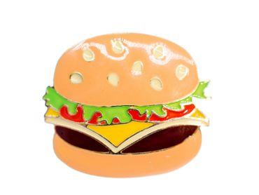 Hamburger emailliert Brosche Miniblings Metall Emaille Fast Food Essen Burger US – Bild 1