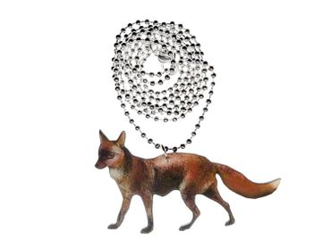 Fox Necklace Miniblings Necklace80cm Wooden Laserprint LC Forest Animal Reineke Realistic – Bild 3