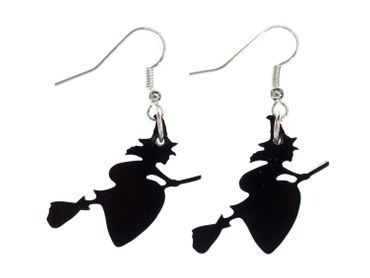 Witch On Broom Earrings Miniblings Halloween Horror Black Acrylic Glass – Bild 1