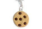 Chocolate  Chips Cookie Biscuit Necklace Miniblings 45cm Silver Eating